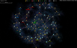 Galaxy map, fully revealed, with exploring and expanding AI empires.